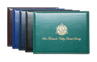 blue, green, black and Burgundy stitched vinyl award covers